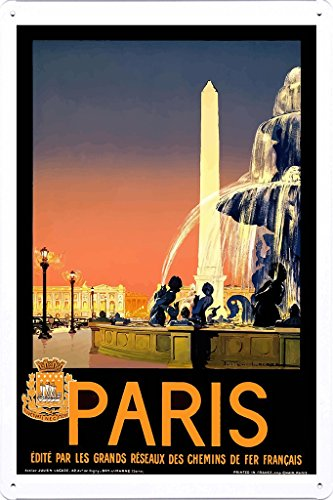 (Tin Sign of Retro Vintage Travel Poster Paris France (20x30cm) by Nature Scene Painting)