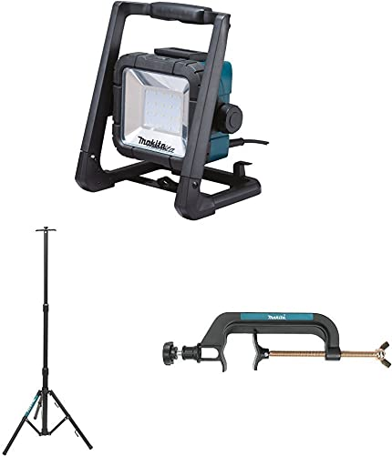Makita DML805 18V LXT Lithium-Ion Cordless Corded L.E.D. Flood Light with GM00001381 Portable Tripod Light Stand with GM00001396 Pipe Clamp Light Stand