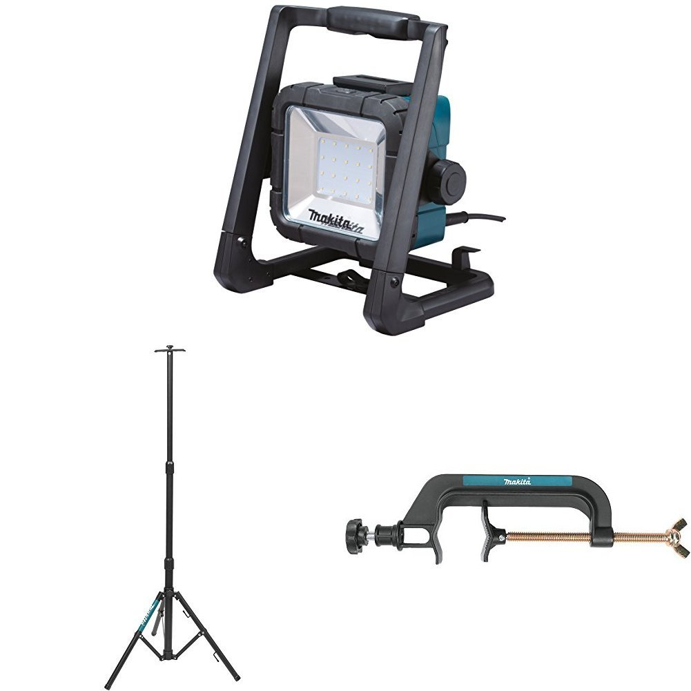 Makita DML805 18V LXT Lithium-Ion Cordless/Corded L.E.D. Flood Light with GM00001381 Portable Tripod Light Stand with GM00001396 Pipe Clamp Light Stand