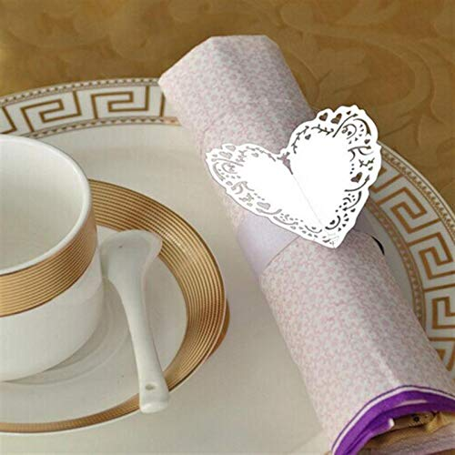 Funnmart 50pcs Heart Style Paper Napkin Rings for Wedding Decoration Dinner Banquet Birthday Date Anniversray Party Table Decorations