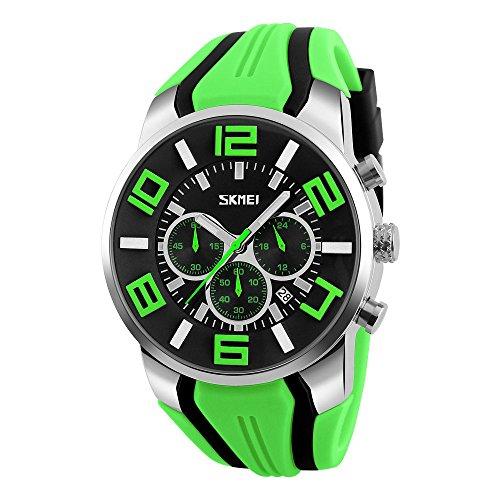 SKMEI 9128 Top Luxury Brand Quartz Watches Men Fashion Casual Wristwatches Waterproof Sport Watch Relogio Masculino (green)