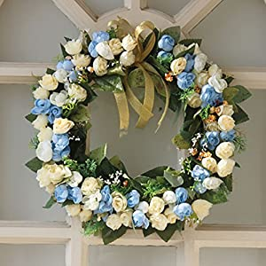 Blooming Rose Wreath Front Door Wreath Silk Artificial Flowers Handmade Wall Decoration Home Decor 35