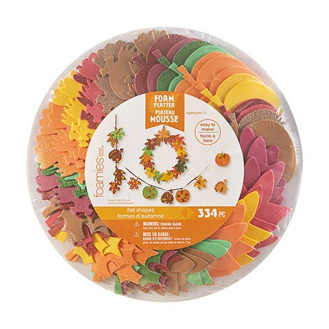334 Pieces Fall Craft Activity Foam Sticker Gift Set Pack with Leaves, Pumpkins, Turkeys, Other Fall Shapes.