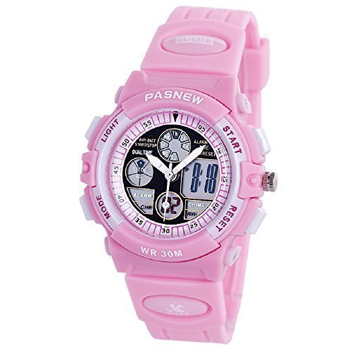 PASNEW Boys Girls Waterproof Sport Digital Watch Dual Time Display- Pink by PASNEW