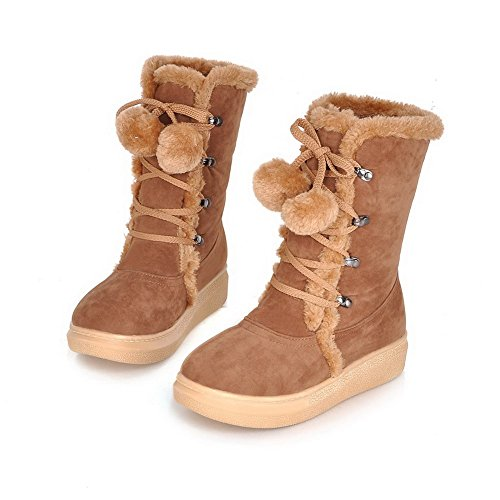up Imitated Low Lace Round Suede Brown Solid Women's Allhqfashion Toe Boots Heels Closed SwcEvIB6q