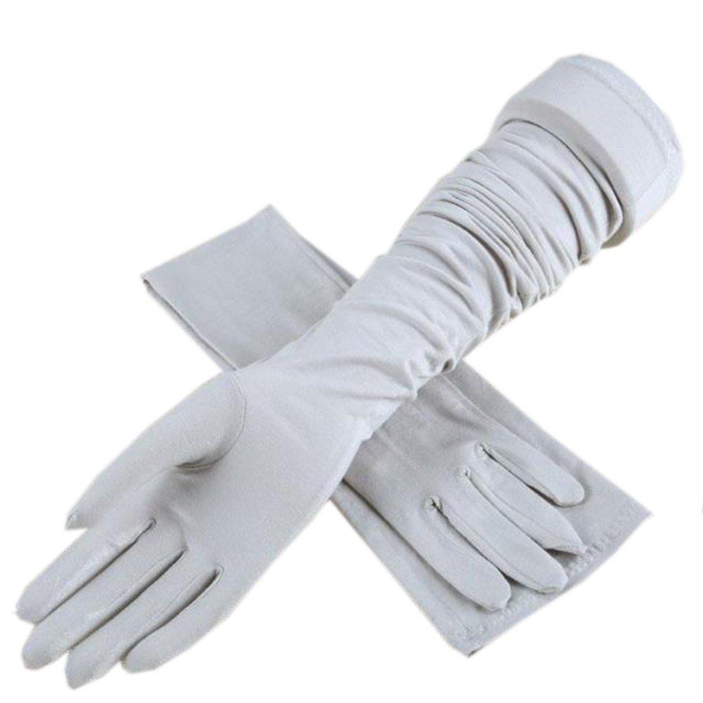 Sun Protection Gloves Summer Full-finger Riding Driving Thin Long Women UV Protection Sun Gloves (Gray)