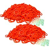 Qty 1200 Loom Rubber Band All Orange Refill & 50 S-Clips for Rainbow