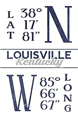 Louisville, Kentucky - Latitude and Longitude (Blue) (12x18 Collectible Art Print, Wall Decor Travel Poster)