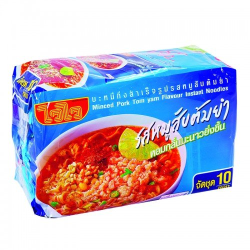 Wai Wai Instant Noodles Minced Pork Tom Yum Flavor 60g. Pack 10