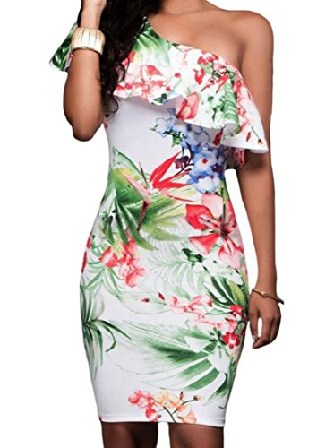 Coolred Oblique Abito Cocktail Stampa Increspato Floreale Donne Bianco Da Spalle d1xw7Uqnp