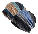 Jemis Womens Cotton Chemo Hat Beanie Scarf - Beanie Cap Bandana For Cancer (2 Pack)