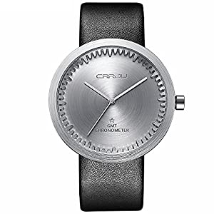 CRRJU Top Brand Men's Casual Stainless case Analog Quartz Watches,Luxury Classic Retro Leather Band Wristwatch for Men