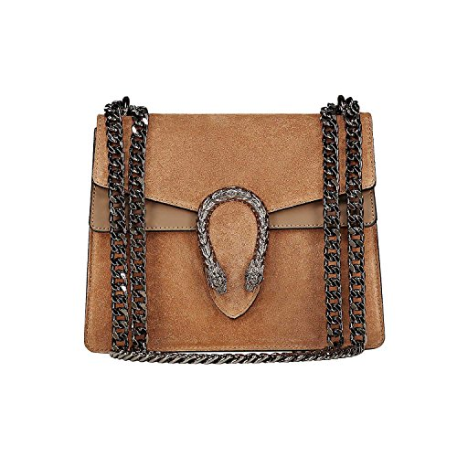 (RACHEL MEDIUM Italian Baugette clutch mini wallet cross body bag with nickel chain smooth stiff leather and suede (camel mini))