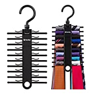 Tenby Living 2-Pack Black Tie Rack, organizador, colgador, soporte - Ti asequible.