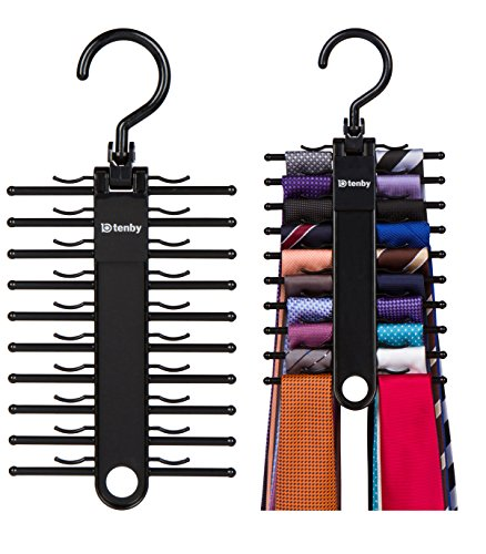 Tenby Living 2-PACK Black Tie Rack, Organizer, Hanger, Holder - Affordable Ti.