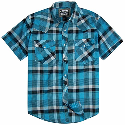 Men's Classic Plaid Short Sleeve Casual Western Shirt; Pearl Snap Front (Large, Teal)