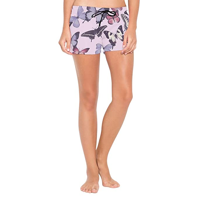 a99c207616fdd Amazon.com: Pink Black Butterfly Women's Sport Beach Swim Shorts Board  Shorts Swimsuit with Mesh Lining: Clothing