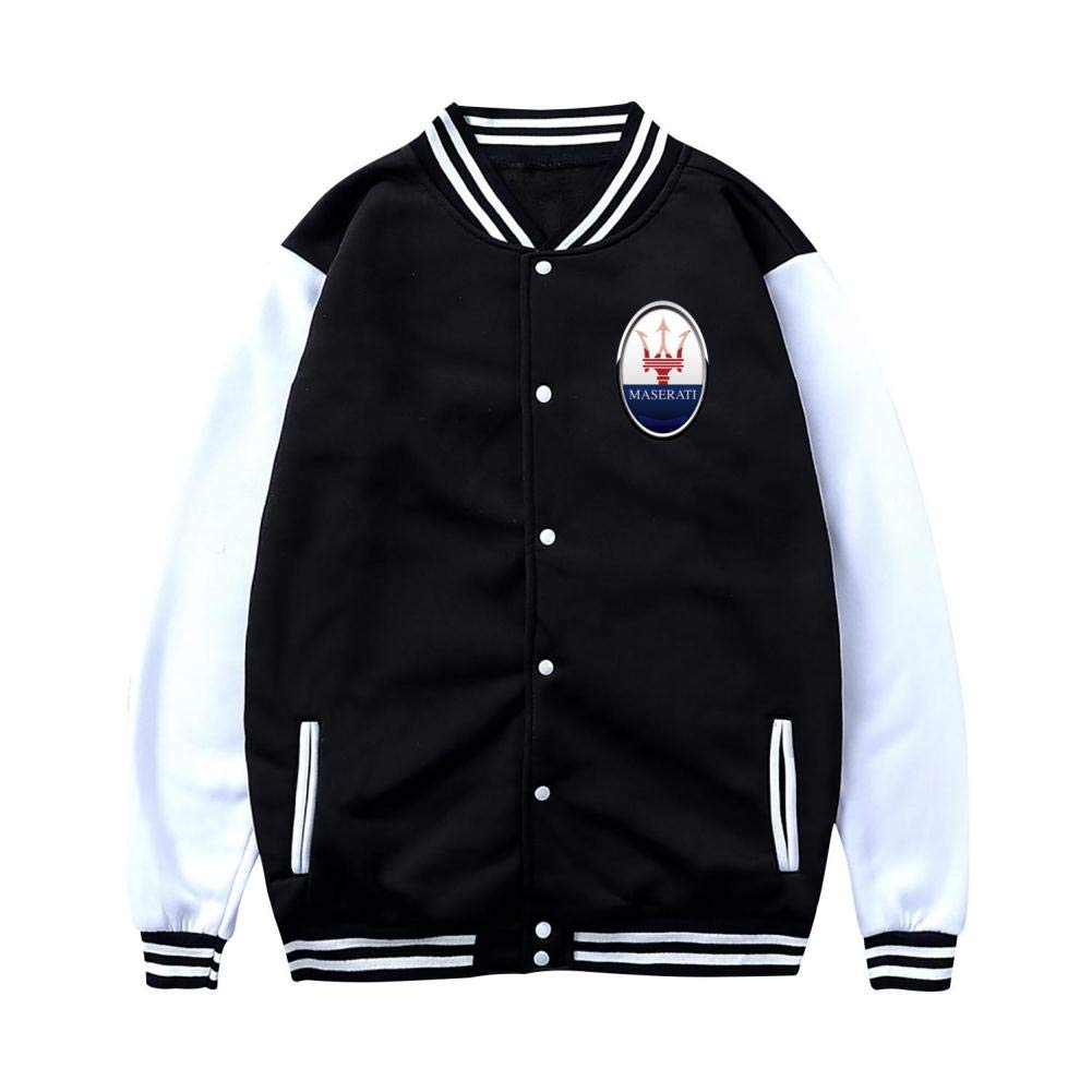 Womens M-aserati Car Logo Varsity Baseball Jacket Uniform Hoodie Sweatshirt Sweater for Adult Outwear Plus Velvet Black by Golwwl