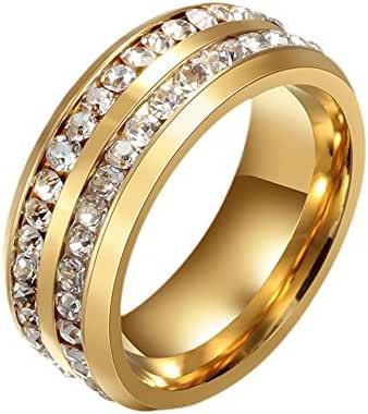 316L Stainless Steel Cubic Zircon Ring in Pasted Beveled Edge 8mm for Men Women