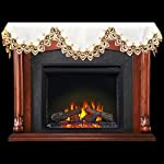 """Fireplace Mantel Scarf with Gold Beige Lace on White 19"""" x 90"""" by Linens, Art and Things"""
