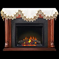 "Fireplace Mantel Scarf with Gold Beige Lace on White 19"" x 90"" by Linens, Art and Things"