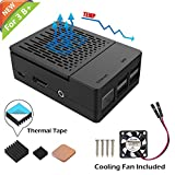 iUniker Raspberry Pi 3 B+ Case, Raspberry Pi Fan ABS Case with Cooling Fan, Raspberry Pi Heatsink, Simple Removable Top Cover for Pi 3 B+, Pi 3 Model B, Pi 2 Model B - Black