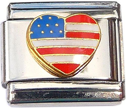 Heart USA Flag Italian Charm