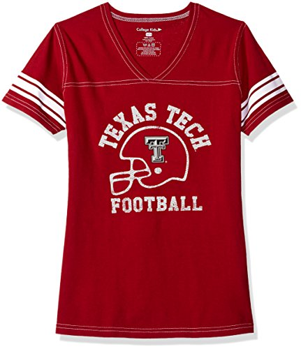 NCAA Texas Tech Red Raiders Girls V Neck Short Sleeve Football Tee, Size 7/X-Small, - Tee V-neck Football