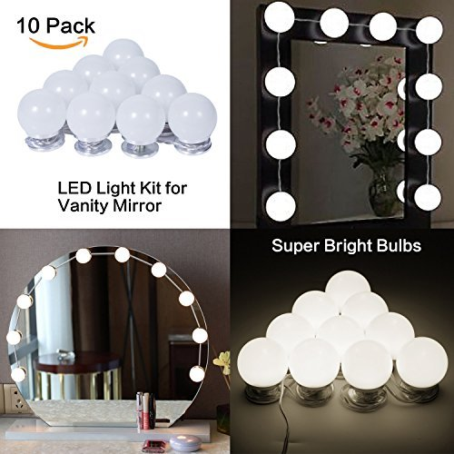 Hollywood Style LED Vanity Mirror Makeup Lights Kit with 10 Dimmable Light Bulbs, Lighting Fixture Strip for Makeup Dressing Table Touch Dimmer Plug in (Mirror not Included) by Ollny