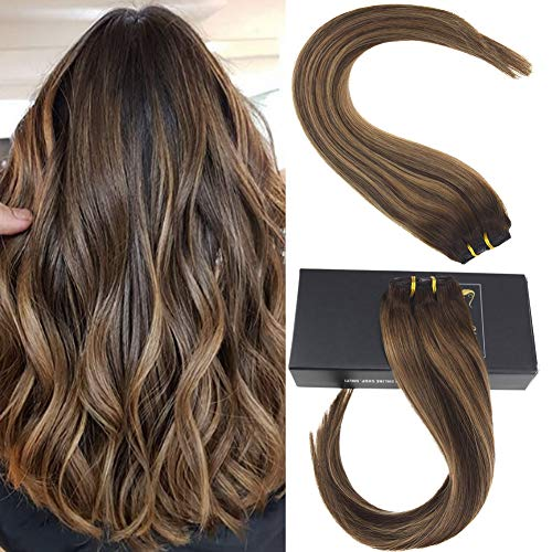 (Sunny 120g 7pcs Real Remy Human Hair Balayage Hair Extensions Clip in Caramel Blonde Highlighted Dark Brown Ombre Full Head Clip on Hair Extensions Remy Hair 16)