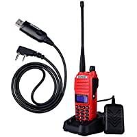 NKTECH USB Programming Cable and BaoFeng UV-82 Tri-Power 8W 4W 1W VHF UHF Dual Band PTT Ham Transceiver Two Way Radio Walkie Talkie 7.4V Li-ion Batteries Accessories Red