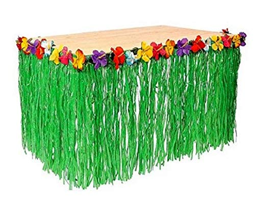 Playscene™ Tropical Party Decorations, Tiki Party Table Skirts, Tropical Palm Leaves for Luau Party (Hibiscus Table Skirt (1 Piece)) -