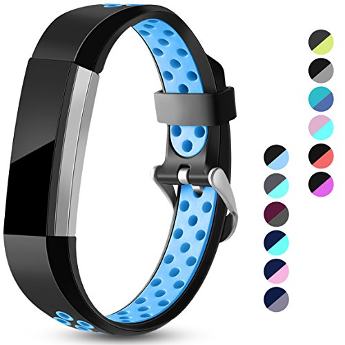 Maledan Replacement Bands Compatible for Fitbit Alta, Fitbit Alta HR and Fitbit Ace, Accessory Sport Bands Air-Holes Breathable Strap Wristbands with Stainless Steel Buckle, Black/Blue, Large
