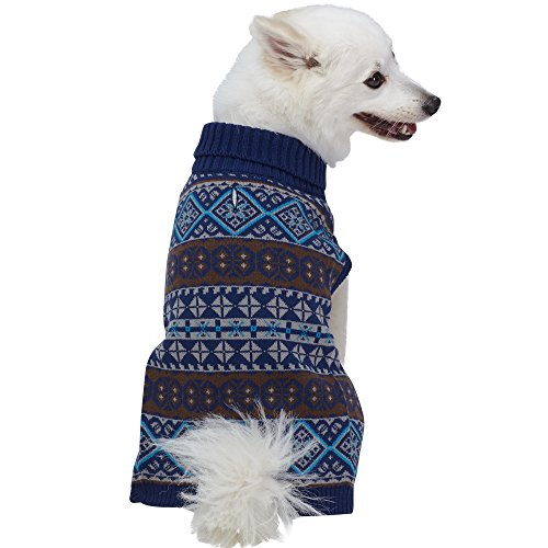 Blueberry Pet 5 Patterns Fair Isle Style Yale Blue Snowflakes Pullover Dog Sweater, Back Length 16
