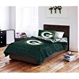 5 Piece NFL Packers Comforter with Sheets Full Set, Green Yellow Multi Football Themed Bedding Sports Patterned, Team Logo Fan Merchandise Athletic Team Spirit Fan, Polyester, For Unisex