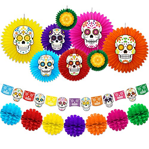 Sugar Skull Party Ideas (Day of the Dead Decorations Kit Día de los Muertos Papel Picado Garland Sugar Skull Marigold Flowers Cutouts Paper Fans Backdrop Paper Honeycomb Balls for Mexican Birthday Party Decorations Halloween)