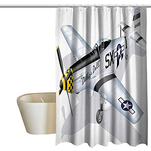 Vintage Airplane Home Decor Shower Curtain P 51 Dallas Doll Detailed Illustration American Air Force Classic Plane Shower Curtain Cool W48 x L72 Multicolor