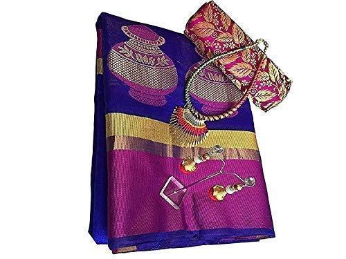 SareePopular Cotton Saree With Blouse Piece (BlueMatka_Blue_Free Size)