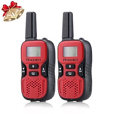 Amanico Kids Walkie Talkies, 22 Channel FRS/GMRS 2 Way Radio 2 miles (up to 3.7 Miles) UHF Handheld Walkie Talkies for Kids Children Teens Games Travel (1 Pair) Red