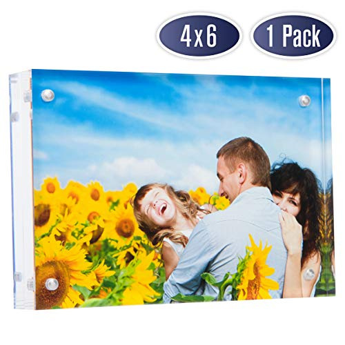 Double Photo Frames Sided - Dasher Products Acrylic Picture Frame 4x6 - Double Sided Magnetic Photo Frame, 24 mm Thick Clear Picture Frame, 4 x 6 Inches Acrylic Frame, Modern and Self Standing for Desktop Display (1 Pack)