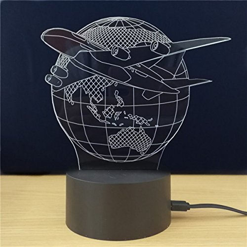 Airplane Fly the World Earth Globe 3D LED Lamp Arylic Board with the ABS Base 7 Colors 3D Optical Illusion Lamp,Night Light LED 3D Globe Lamp Home Decorative Globe Hologram