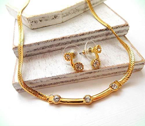Crystal Rhinestone Gold Tone Herringbone Chain Necklace for Women Earrings for Women Set S48