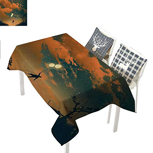 (WilliamsDecor Fantasy Dining Table Cover Flying Man with Balloons in Sky Starry Night Freedom Fun Theme IllustrationOrange Ash Gray Rectangular Tablecloth W52 xL70 inch)