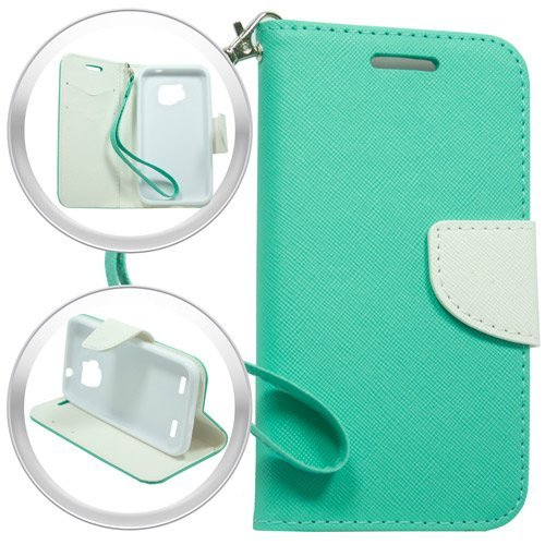 ZTE Sonata 2, ZTE Zephyr Z752C, ZTE Paragon Z753G Wallet Case by iViva Designed Luxury Magnetic Wallet Case PU Leather Credit Card Holder Flip Cover + LCD Clear Screen Protector + A Retractable Stylus Pen w/ 3.5mm Anti Dust Plug (White Teal)