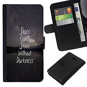 KingStore / Leather Etui en cuir / Sony Xperia M2 / Darkness texte de citation inspirante