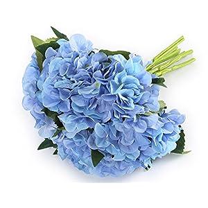"Greentime 6 Bunchs 8"" Artificial Flower Fake Hydrangea Bouquet Silk Flower Bouquet for Wedding, Room, Home, Hotel, Party Decoration 56"