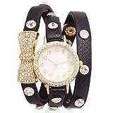 2013newestseller Ladies Girls Bowknot Crystal Wrap Around Bracelet Chain Wrist Quartz Watch Black