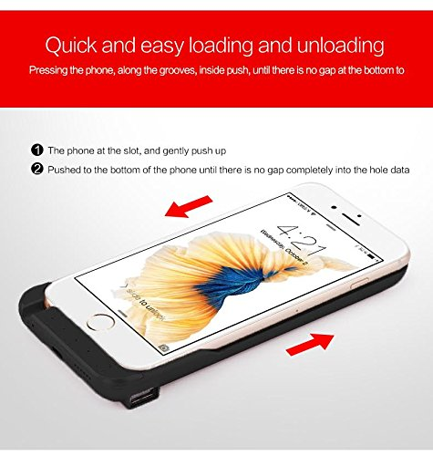 iPhone 6 6S Battery Case, Ultra Slim Extended iPhone 6 Battery Case 6800mAh, External Portable Charging Case, High Capacity Battery Pack Bank Cover (Black) by PowerLocus (Image #6)