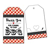 25 Baby Q Thank You Favor Tags for BBQ Baby Shower, Barbecue, Red