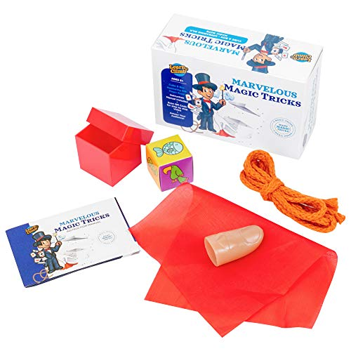 Learn & Climb Magic Tricks for Kids Ages 7,8,9,10 - Set of 3 Unique Props Includes Appearing Silk Trick, Cube & Box Trick ,Magic Rope Illusion & Easy to Follow Instruction Manual